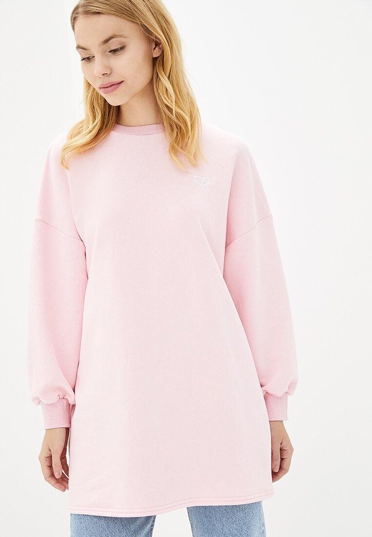 розовый свитшот оверсайз